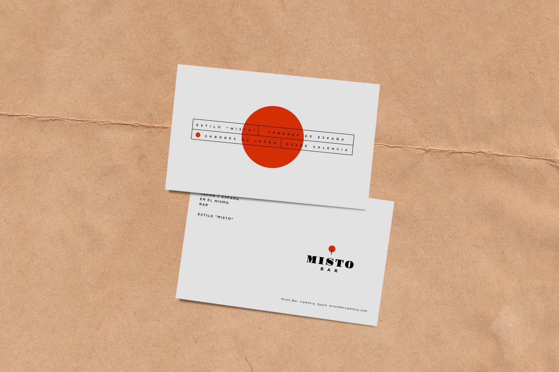 Detalle de tarjetas corporativas Misto Bar - Supermundano