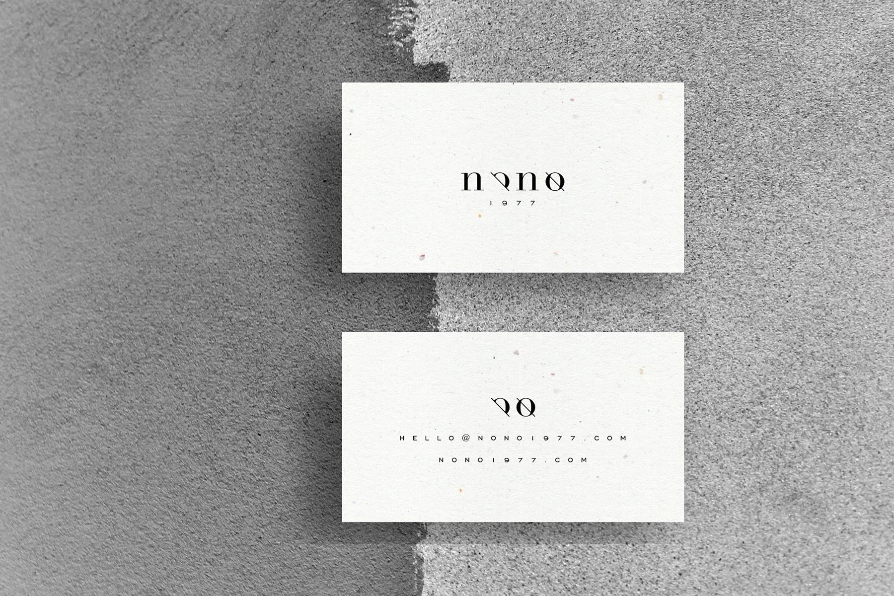 Composición gráfica de tarjetas corporativas para Nono - Supermundano