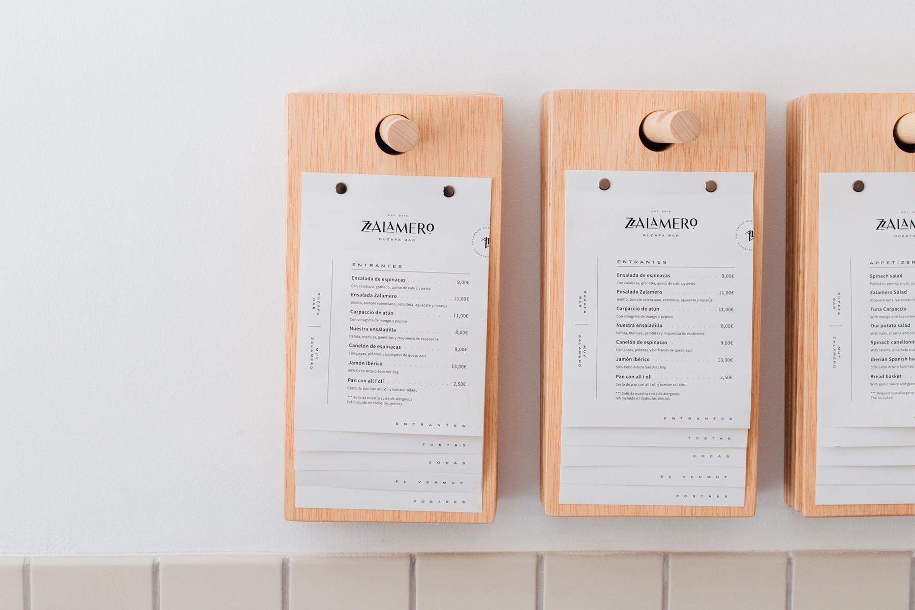 Diseño de carta menú para Zalamero Ruzafa Bar en Valencia
